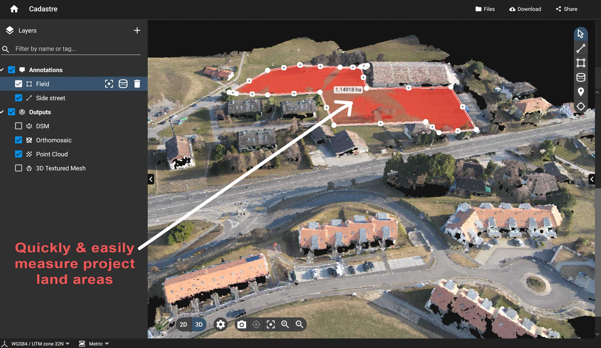 Photogrammetry measuring project areas